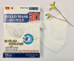 Khẩu Trang 3D Hello Mask 10 tặng 2 cái - Màu Trắng